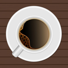 Cup of coffee. Top view. Vector.