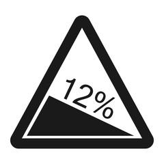 Steep descent sign line icon
