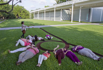 "A photographer directs a group photo around Heizer's landscape sculpture ""Isolated Mass/Circumflex (#2)"" on the front lawn of the Menil museum in Houston"