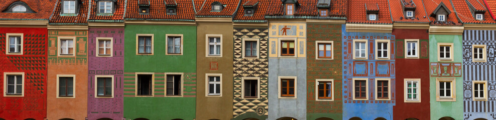 Wall Mural - facades of crooked medieval houses on the central market square in Poznan, PolandPoznan, Poland