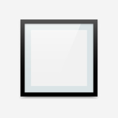 Black square vector picture frame with blue passe-partout. Photo frame template for your design.