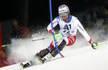 Aerni of Switzerland skis during the men's Alpine Skiing World Cup slalom in Schladming