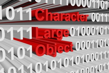 Character large object as a binary code 3D illustration