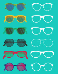 Set of hipster glasses flat elements.