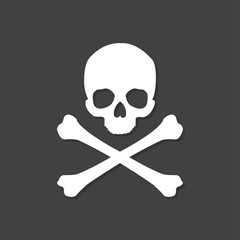 Skull and crossbones icon with shadow in a flat design on a black background