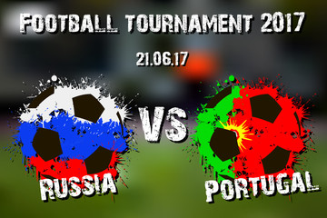 Banner football match Russia vs Portugal