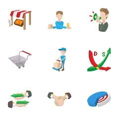 Market icons set, cartoon style