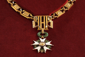 A detail of the ceremonial collar of France's Order of the Legion of Honour is pictured during the investiture ceremony at the Elysee Palace in Paris