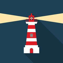 Lighthouse icon with long shadow. Flat design style. Lighthouse simple silhouette. Modern, minimalist icon in stylish colors. Web site page and mobile app design vector element.