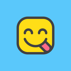 Face Savouring Delicious Food, hungry emoji. Filled outline icon, colorful vector emoticon