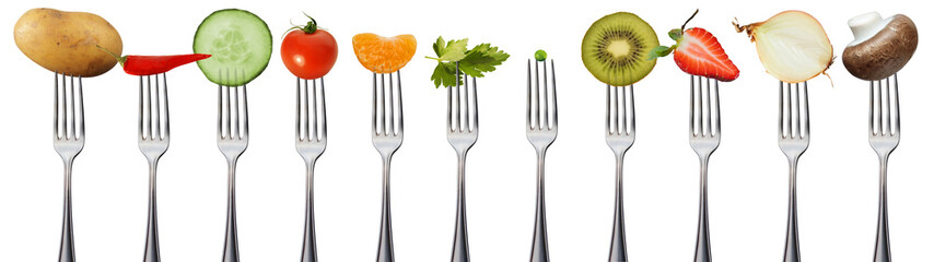 Fotorollo Frischgemüse Obst und Gemüse auf Gabeln, isoliert