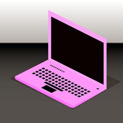 Pink laptop.