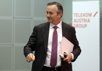 Telekom Austria Chief Executive Ametsreiter arrives for a news conference in Vienna