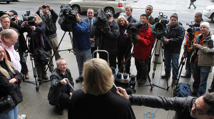 Cristina Arguedas, lead attorney for ex-San Francisco Giants slugger Bonds, speaks with the media after Bonds' perjury trial in San Francisco