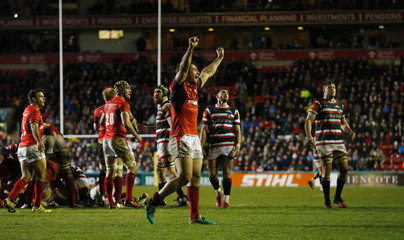 Saracens' Marcelo Bosch celebrates after the game