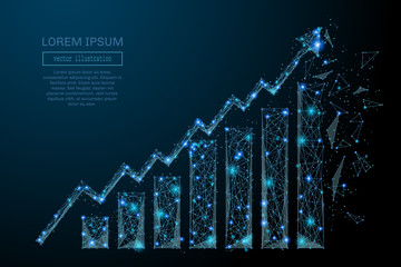Abstract image of a growth chart in the form of a starry sky or space, consisting of points, lines, and shapes in the form of planets, stars and the universe. Vector wireframe concept.