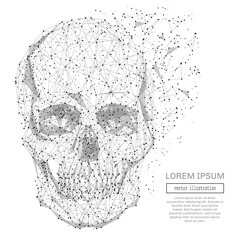 Grey skull with polygon line on abstract background. Polygonal space low poly guard with connecting dots and lines. Connection structure. Vector background.