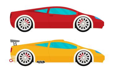 Flat racing car vector set. Eps 10