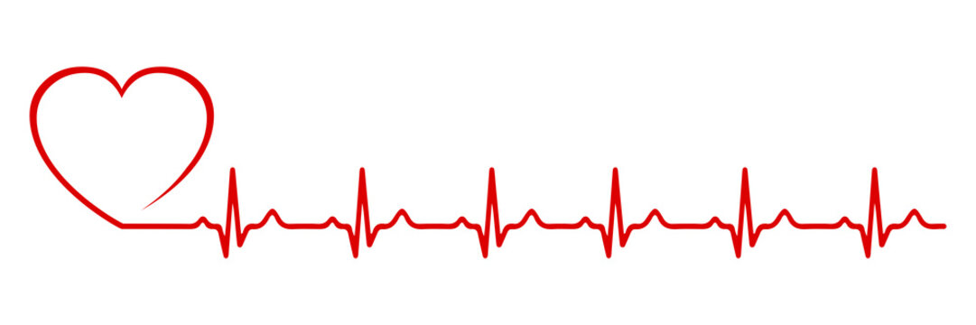 Heart pulse, one line - stock vector