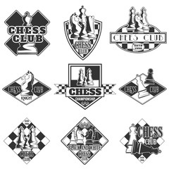 Vector set of monochrome chess club logo for your design, different kinds of printing and the Internet
