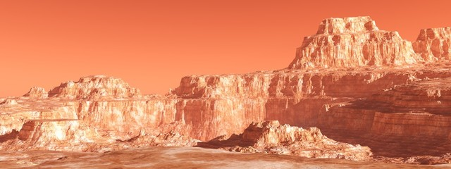 Foto op Aluminium Koraal Martian landscape, panorama of Mars, mountain landscape, 3D rendering