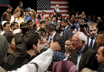 U.S. Democratic presidential candidate Bernie Sanders greets supporters at a campaign rally in Dearborn