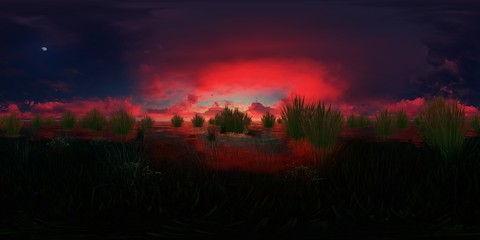 rendering of a lake with water plants and red clouds