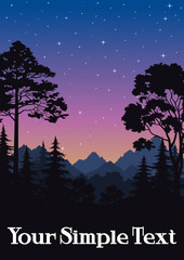 Night Landscape, Mountains and Forest, Fir, Pine, Maple Black Silhouettes and Sky with Stars. Vector
