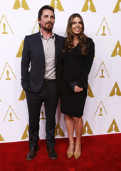 Christian Bale and Sibi Blazic arrive at the 86th Academy Awards nominees luncheon in Beverly Hills