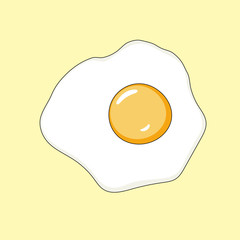 Fried egg in a hand-drawn style. Vector illustration.