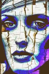 Composing, verwittertes  Porträt, Frau,