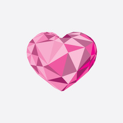 Low poly crystal bright pink heart