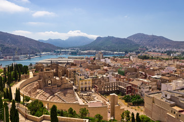Cartagena looking over the Roman Amphitheater, Spain