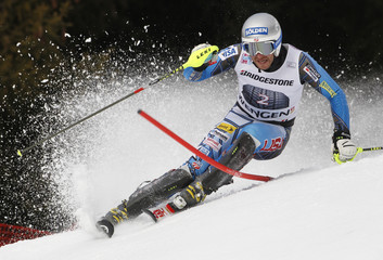 Miller of the US clears a gate during the slalom competition of the men's Alpine skiing World Cup super combined race at the Lauberhorn in Wengen
