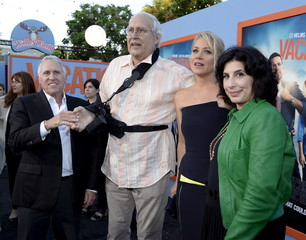 "Fellman, Chase, Applegate and Kroll pose during the premiere of the film ""Vacation"" at the Regency Village Theatre in the Westwood section of Los Angeles"
