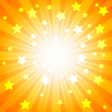 Orange burst with many white stars for abstract vector design background concept