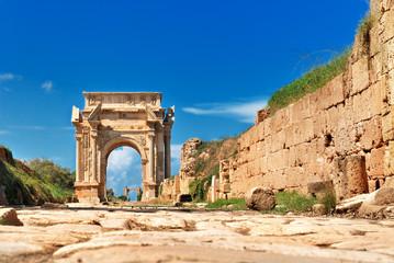 Libya Tripoli Leptis Magna Roman archaeological site Arch of Septimus Severus Unesco World Heritage Site