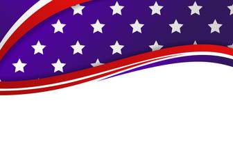 American flag themed patriotic banner with blank space