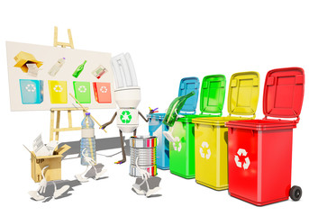 paper, metallic, bottle and plastic character go for recycling by themselves, 3d rendering