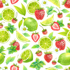 Seamless watercolor pattern with lime, mint and strawberry on white background