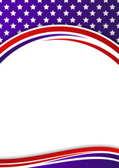 USA flag themed patriotic banner template with copy space