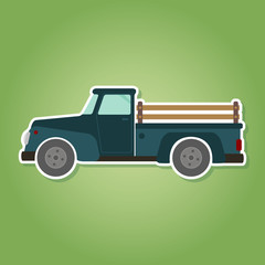 icon with farm truck for your design
