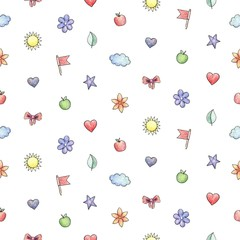 Baby Seamless Hand Drawn Pattern. Funny doodles elements hand drawn with colored pencils. Stars, clouds, flags, leaves, suns, moons, flowers, bees, apples, bows, flowers, hearts.