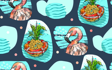 Hand made vector abstract textured summer time seamless pattern with pink tropical flamingo,pineapple in lifebuoy and sea weves isolated on color background.Fashion fabric,wedding,birthday,decoration