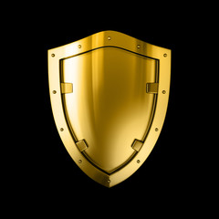 Bright shiny gold metal shield, isolated against the dark black background.