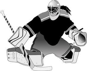 Female hockey goalie making a save