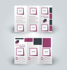 Brochure mock up design template for business, education, advertisement. Trifold booklet editable printable vector illustration. Purple and grey color.