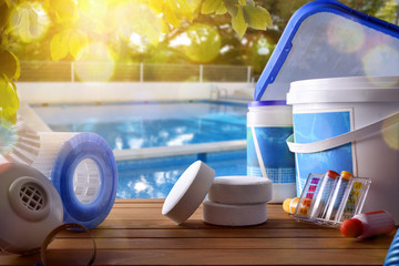 Swimming pool service and equipment with swimming pool background