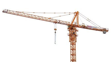 bright orange hoisting crane isolate on white