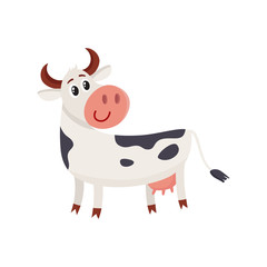 Funny black white spotted cow standing and looking back, cartoon vector illustration isolated on white background. Funny cow character with head turned back, dairy, farm concept